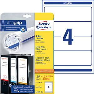 Lever arch filing labels, short, wide 192 x 61 mm AVERY ZWECKFORM L4761-25