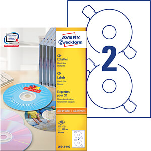 FOR CDs/200x/WHITE = L6043 AVERY ZWECKFORM L6043-100