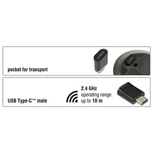 Maus (Mouse), Funk, Notebook, USB Type-C DELOCK 12526