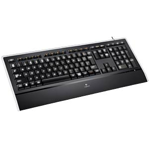 Keyboard - USB - black - illuminated LOGITECH 920-005687