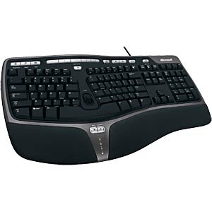 Keyboard — USB — black — ergonomic MICROSOFT 5QH-00002