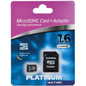 MicroSDHC-Card 16GB Class 6 PLATINUM 177307