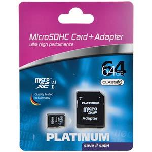 MicroSDXC-Card 64GB Class 10 PLATINUM 177323