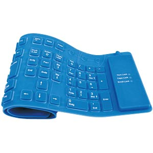 Keyboard — PS/2+USB — blue — flexible — waterproof FREI