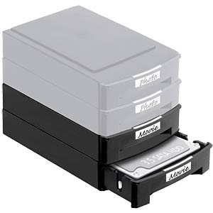 2 x stackable storage boxes for 3.5 HDDs DELOCK 61970