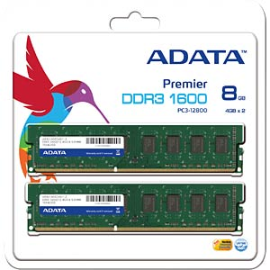 8 GB DDR3 1600 CL11 A-DATA 2er Kit A-DATA AD3U1600W4G11-2