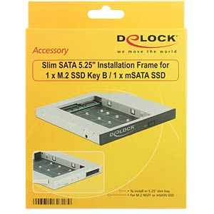 Slim SATA 5.25 Installation Frame for mSATA/M.2 DELOCK 62718
