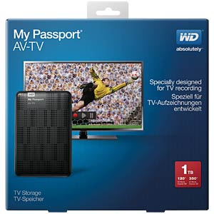 WD My Passport AV-TV 1TB, USB 3.0 WESTERN DIGITAL WDBHDK0010BBK
