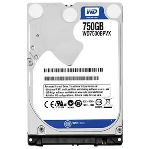 Notebook hard drive, 750 GB, WD Blue WESTERN DIGITAL WD7500BPVX