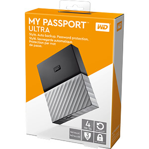 WD My Passport Ultra 4TB schwarz WESTERN DIGITAL WDBFKT0040BGY-WESN