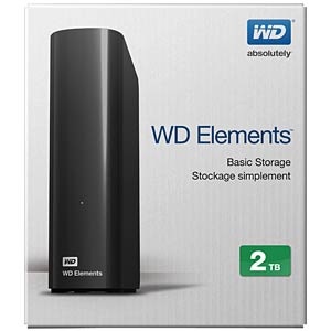 2 TB WD Elements Desktop, USB 3.0 WESTERN DIGITAL WDBWLG0020HBK-EESN