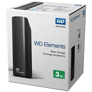 3 TB WD Elements Desktop, USB 3.0 WESTERN DIGITAL WDBWLG0030HBK-EESN