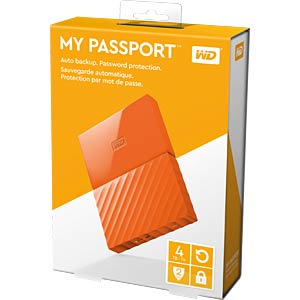 Externe 4TB Festplatte My Passport orange WESTERN DIGITAL WDBYFT0040BOR-WESN