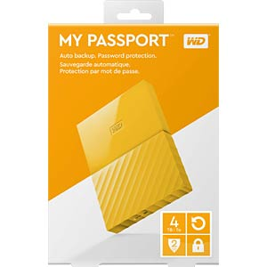 Externes 4TB-Laufwerk WD My Passport gelb WESTERN DIGITAL WDBYFT0040BYL-WESN