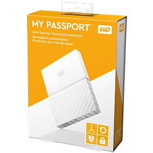 Externes 1TB-Laufwerk WD My Passport weiß WESTERN DIGITAL WDBYNN0010BWT-WESN