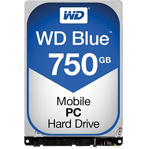 Notebook hard drive, 750 GB, WD Blue WESTERN DIGITAL WD7500LPCX