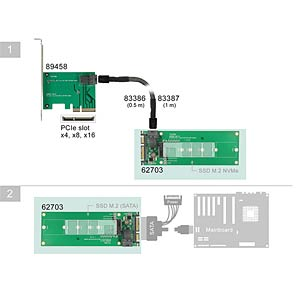 Konverter SATA 22 Pin + SFF-8643 > M.2 NGFF Key M DELOCK 62703