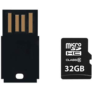 MicroSDHC card 32GB Class 6 + USB adapter PLATINUM 177318