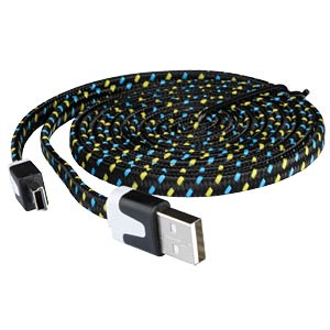 USB 2.0 > mini-B TEXTILE black 2.0 m FREI