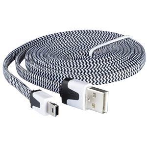 USB 2.0 > mini-B TEXTILE b/w 2.0m FREI