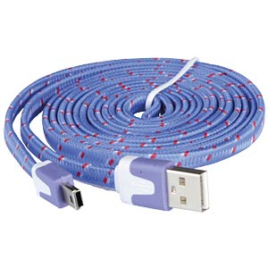 USB 2.0 Kabel, A Stecker auf Mini B Stecker, Textil, 2,0m GOOBAY 67552