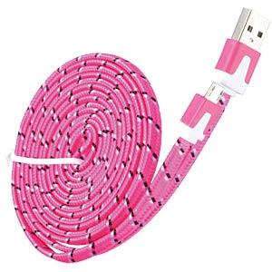 USB 2.0 > micro-B TEXTILE pink 2.0m FREI