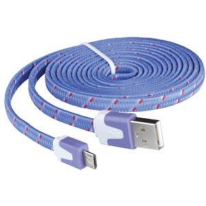 USB 2.0 > micro-B TEXTILE lilac 2.0m FREI