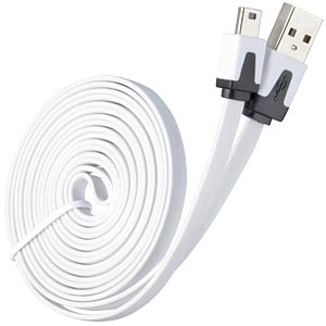 USB 2.0 > mini-B flat cable, white 2.0 m FREI