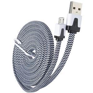 USB 2.0 > micro-B TEXTIL s/w 2,0 m FREI