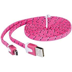 USB 2.0 > mini-B TEXTIL pink 2,0 m FREI
