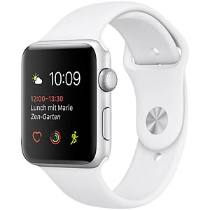 Apple Watch, 42mm, silver-weiß APPLE MNNL2ZD/A