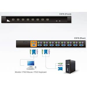 KVM PS/2 - VGA switch with 8 ports ATEN CS78