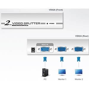 VGA-Grafik-Splitter mit 2 Ports (350 MHz) ATEN VS92A