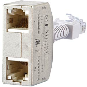 Cable-sharing adapter, pnp 1 — telephone / telephone METZ CONNECT 130548-01-E