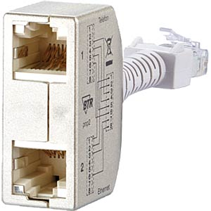 Cable sharing Adapter pnp 2 - Ethernet / Telefon METZ CONNECT 130548-02-E