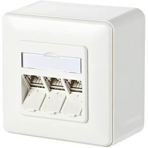 CAT.6A modul 3 Port 180° AP reinweiß METZ CONNECT 130B11D30002-E