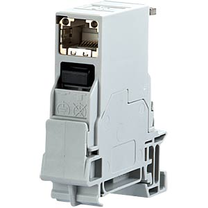 1xRJ45 socket IP20 Cat.6A, rail mounting METZ CONNECT 1401106113KE