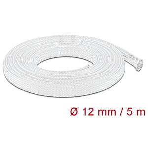 DELOCK 20694 - Geflechtschlauch dehnbar 5 m x 12 mm weiß