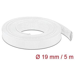 DELOCK 20695 - Geflechtschlauch dehnbar 5 m x 19 mm weiß