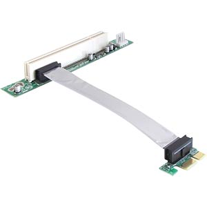 Riser card, PCI Express x1 > PCI 32-bit 5 V with flexible, 13-cm DELOCK 41857