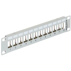"10"" Keystone Patchpanel 12 Port Metall grau DELOCK 43327"
