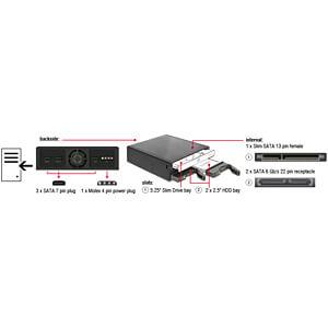 Delock Wechselrahmen 5.25 für 1x SLIM Laufwerk 2x 2.5 SATA HDD DELOCK 47230