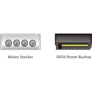 Molex 4 Pin Stecker > SATA 15 Pin Buchse 12cm DELOCK 60100