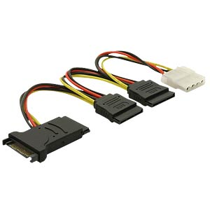 SATA 15-pin plug - >3xSATA 15-pin socket + 1x4-pin Molex socket DELOCK 60106