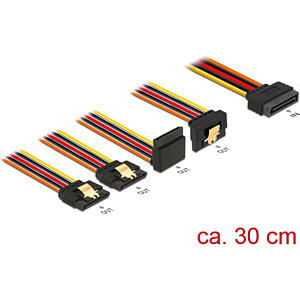 Delock Kabel SATA 15 Pin St. > 4x SATA 15 Pin Bu. gewinkelt, 30 DELOCK 60148