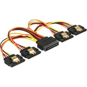 Kabel SATA 15 Pin Stecker > 4x SATA 15 PIN Buchse, 15 cm DELOCK 60156
