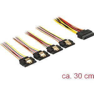 Kabel SATA 15 Pin Stecker > 4x SATA 15 PIN Buchse, 30 cm DELOCK 60157