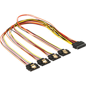 Kabel SATA 15 Pin Stecker > 4x SATA 15 PIN Buchse, 50 cm DELOCK 60158