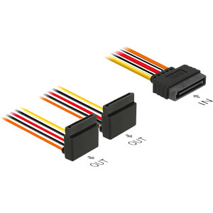 Kabel Power SATA 15 Pin Latchtype > 2x SATA 15 Pin oben gew. 15 DELOCK 60170