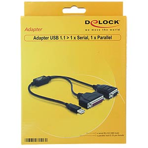 Adaptor USB > serial 1x 9 Pin / Parallel 1x 25 Pin DELOCK 61516